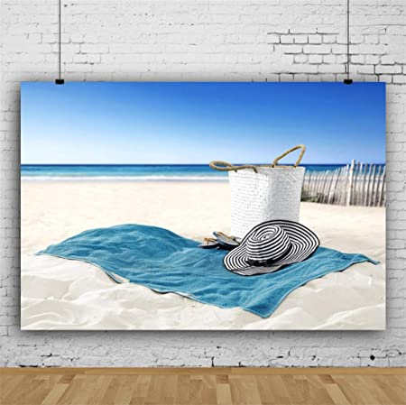 Yeele 10x8ft Seaside Photography Background Beach Hat Towel on Beach Blue Sky White Cloud Water Sunshine Seawater Summer Travel Photo Backdrop Adults Portrait