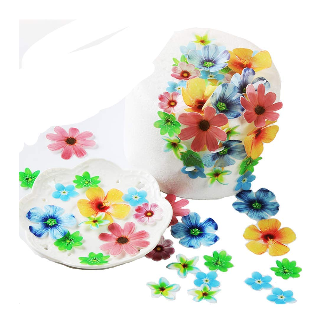 GEORLD Set of 48 Edible Flowers Cupcake Toppers Wedding Cake Birthday Party Food Decoration by GEORLD (Image #1)