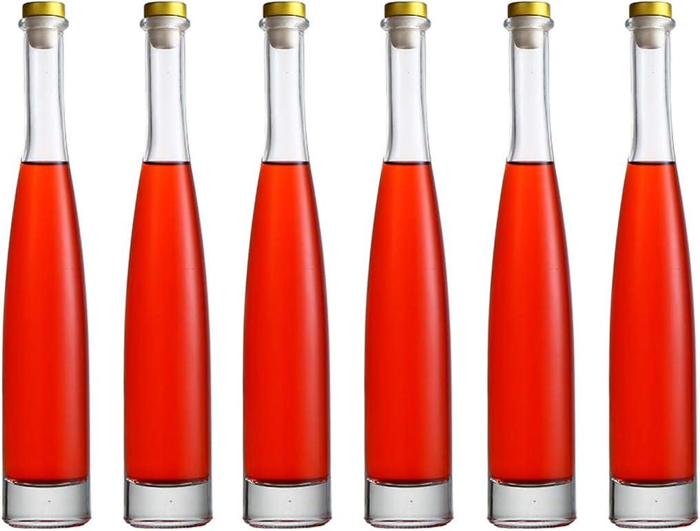 Maypink Glass Bottle Clear (12/6 Pack) 12 oz (375 ml) with Cap Hot Sauce Oil Jam for Beverages Oils Kombucha Kefir Vinegar Beer - Airtight Caps and Leak Proof Lids Shrink Film (6, Plump-12 oz)
