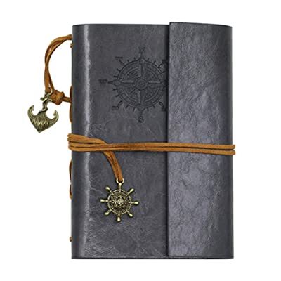 giveyoulucky Retro Anchor Faux Leather Cover Notebook Journal Diary Blank String Nautical - Grey: Home & Kitchen