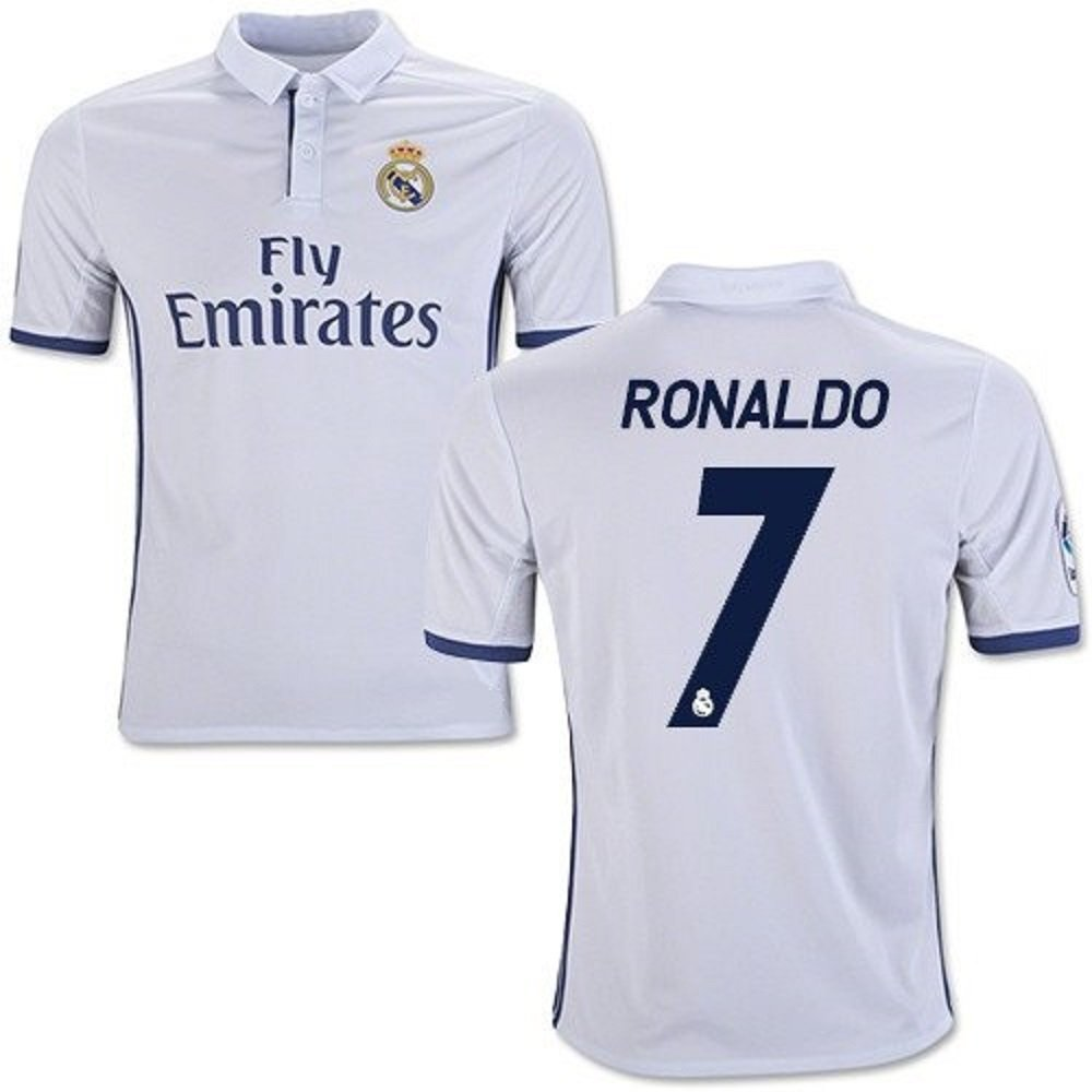 ... Amazon.com Ronaldo 7 Real Madrid Home Kids Soccer Jersey Kit with Free  Shorts Youth ... 048fcb240