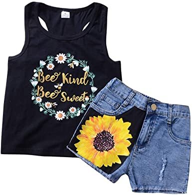 MetCuento Toddler Girls Outfit Sleeveless T-Shirt Vest Tops Denim Shorts Casual Playwear Kids Toddler Summer Clothes