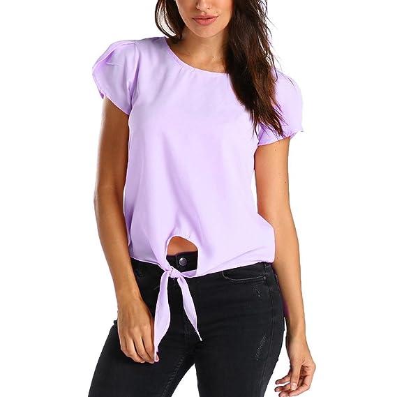 ASHOP Camisetas Muje, Camisetas Manga Corta Mujer Tallas Grandes EN Oferta Suelto Tops Blusas de Mujer Elegantes de Fiesta Baratas Gasa Sólido T-Shirt: ...