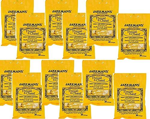 Jakemans Throat and Chest Lozenges - Honey and Lemon - Case of 12 - 30 Pack-honey and lemon falvoured- Menthol Cough Suppressant