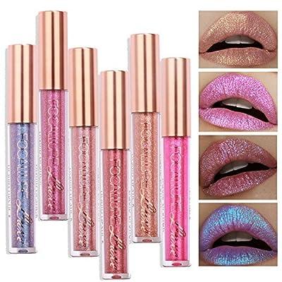 TOPBeauty Fashion Women Glitter Lip Makeup Waterproof Lip Gloss Nude Glitter Shimmer Focallure Lipstick Lip Kit
