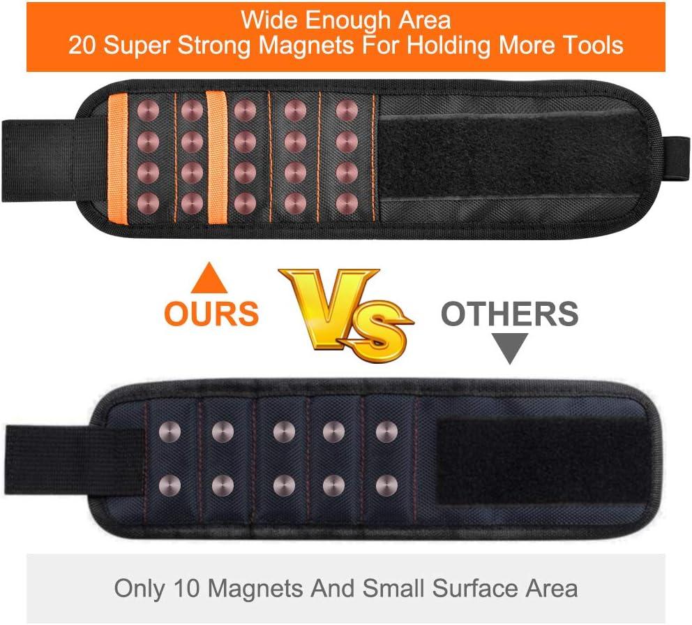 CNXUS Bracelet Magn/étique R/églable avec 20 Puissants Aimants en n/éodyme pour tenir les outils les vis de maintien tr/épans de forage Boulons clous Cadeau Homme Original