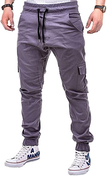 Pantalones Hombre Moda Casual Multi-Bolsillo Trabajo Corta ...