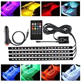 RCRunning 8 Color Car Interior LED Strip Light Kit, Music Rhythm Active, Wireless Remote Control, 4 Strips, 18 LEDs, Use Car Lighter Port