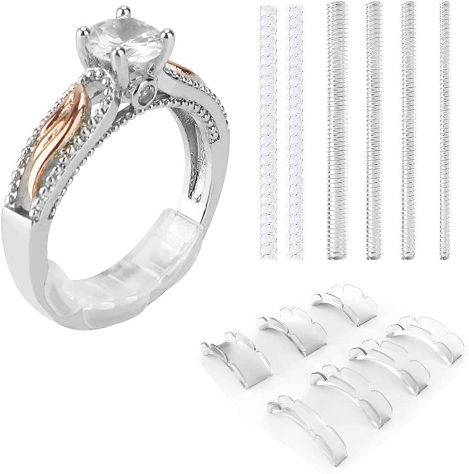Ring Size Adjuster Keten Invisible Ring Guards for Loose Rings with Silver Polishing Cloth 72 Pcs in 6 Sizes and 4 Colors Fit for Any Rings for Men Women Big Knuckles