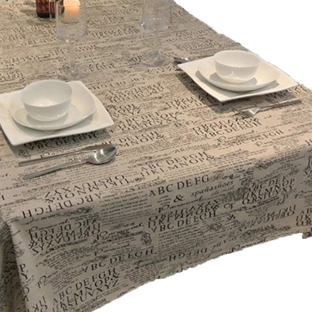 Newspaper Printed Burlap Table Runners Vintage 50s Tablecloths Rectangle with Lace 55''x62''