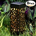 BEAU JARDIN Solar Lights Outdoor Garden Powered Path Lighting Solar Glow Led Pathway Lights Front Gate Bright Solar Landscape Lights Black Waterproof Sidewalk Lamp for Patio Walkway 8 Pack