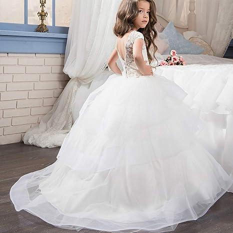 Abiti da cerimonia convenzionali Abito da sposa per bambini Ragazze Pizzo a  maniche corte Petali di eaf0e673604