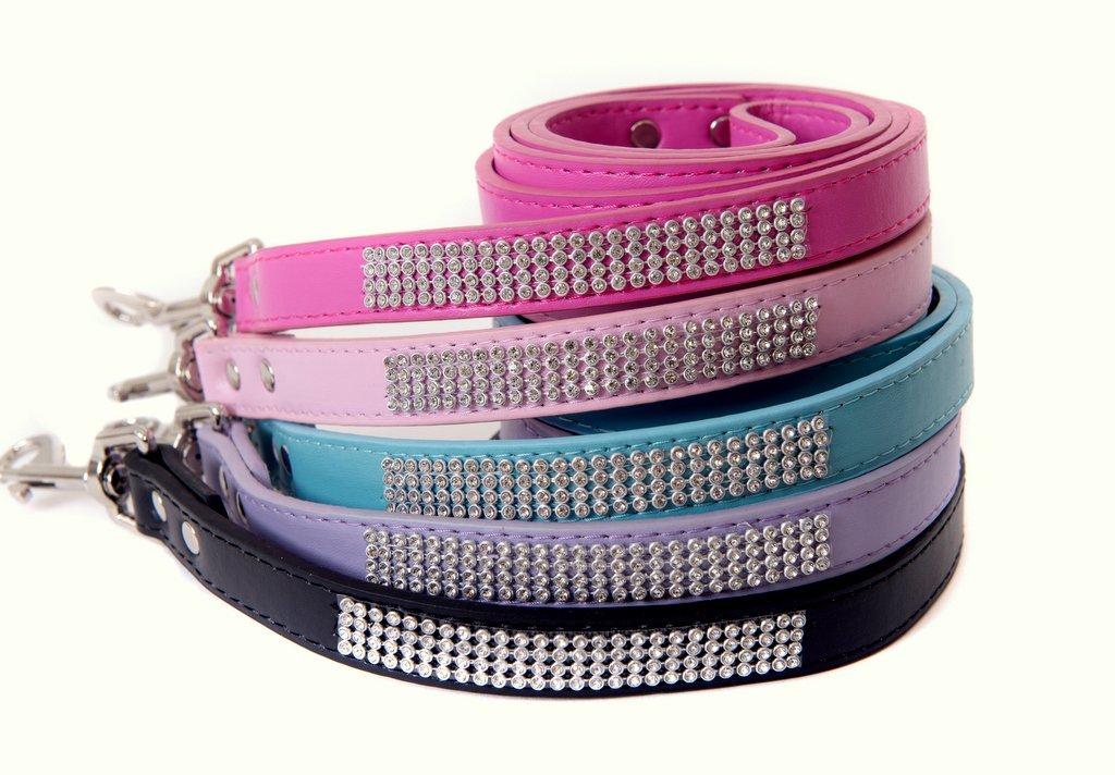 Purple Lushpetz Rhinestone Diamante Dog Leash for Small Medium Dogs Available in Pink, Black, Red, bluee & Purple (Purple)