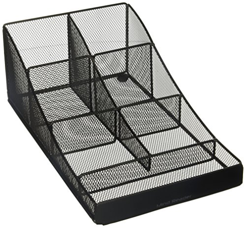 Mind Reader Metal Mesh 7 Compartment Coffee Condiment, Cups, Lids, Sugars, Stirrers,Storage Organizer, (Black Mesh Coffee Table)