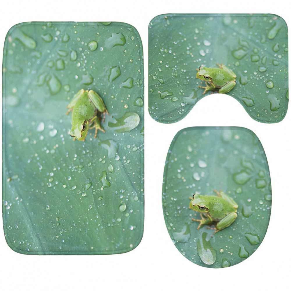 GMYANMTD Super weiche Dicke Flanell Badematten Anti-Rutsch-Toiletten-Matte erfrischende grüne Blätter 3 Stück Badematte Set B07HF8Q8C7 Duschmatten