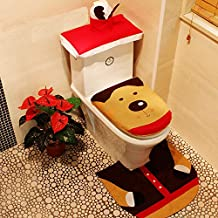 ZCasualLife Home Toilet Seat Cover Christmas Set 3 Pieces Amazing Design Art