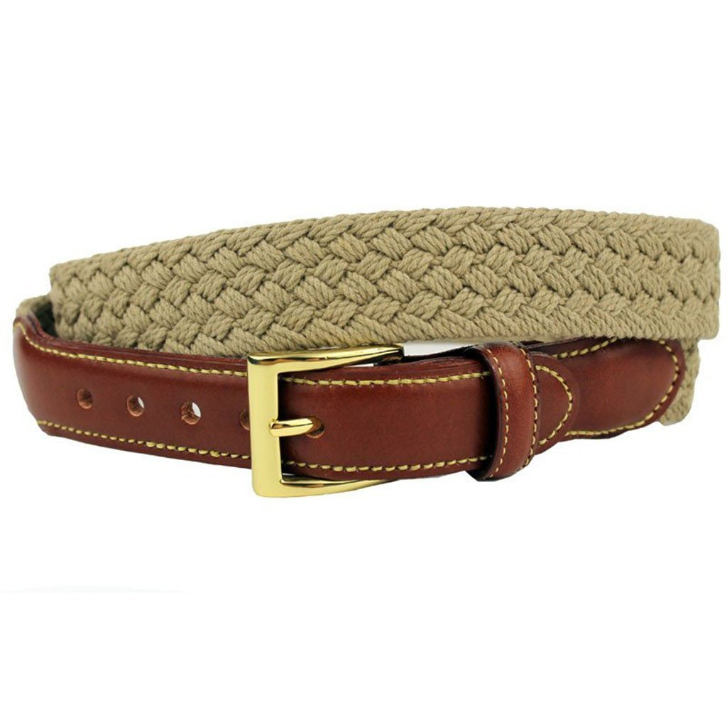 Loggins /& Messina Woven Cotton Leather Tab Belt in Khaki by Country Club Prep