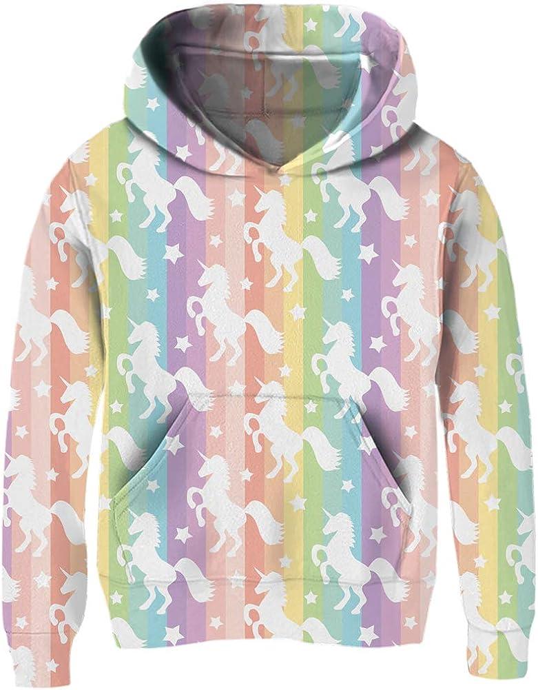 Mirawise Girls Pullover Hoodie Unicorn Sweatshirt with Pockets Hood Jacket 4-13Y
