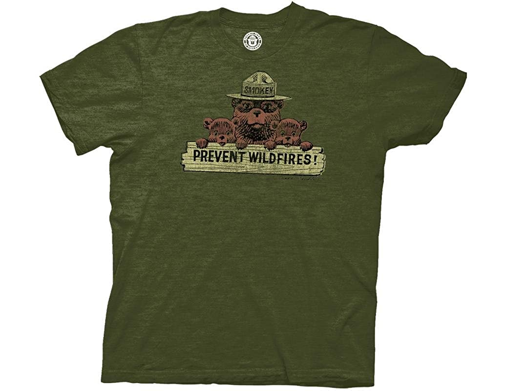 Smokey Bear Distressed Prevent Wildfires Sign Adult Tshirt