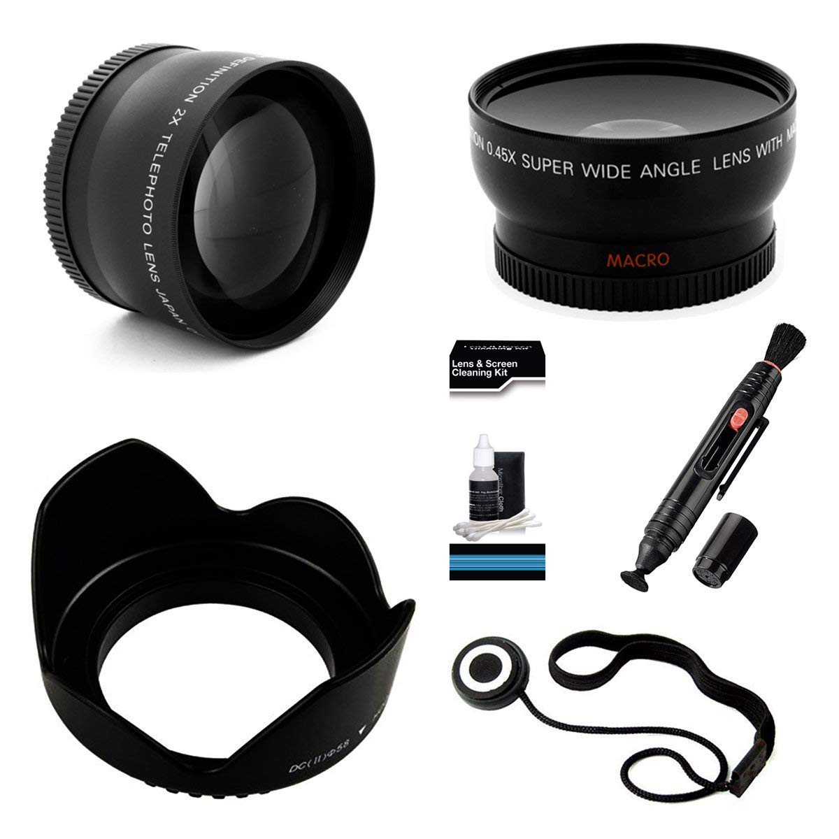 UltraPro 55mm Essential Lens Kit for The Sony FDR-AX53 Camcorder. Bundle Includes 2X Telephoto Lens, 0.45x HD Wide Angle Lens w/Macro, Flower Tulip Lens Hood & UltraPro Accessory Set