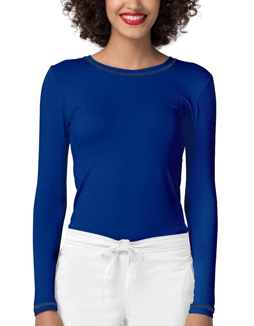 Adar Womens Comfort Long Sleeve Fitted T-Shirt Underscrub Tee- 3400 - Royal Blue - L