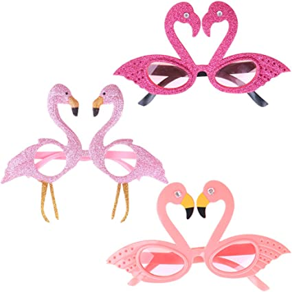 Hawaiian Glitter Pink Flamingo Sunglasses Party Glasses Fancy Dress