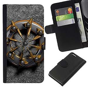 KLONGSHOP // Tirón de la caja Cartera de cuero con ranuras para tarjetas - nave motorista resumen de metal de platino oro - Apple Iphone 5C //