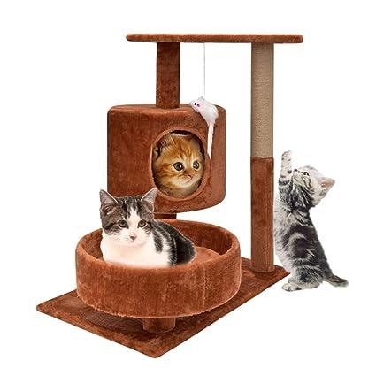 MAL Gato pequeño Marco de Escalada, Arena para Gatos Gato árbol Madera Maciza Gato Juguete