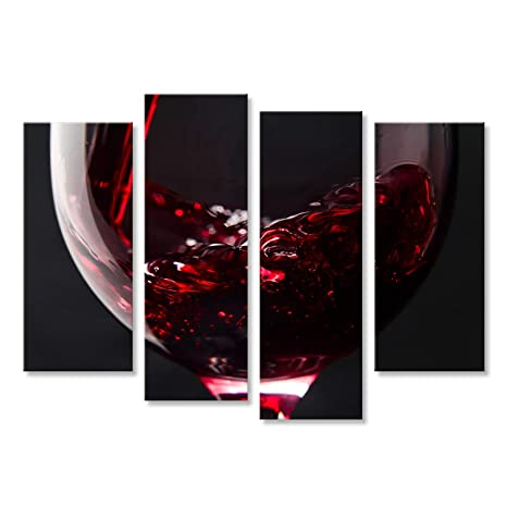 Cuadro Cuadros Vino rojo en vidrio sobre fondo negro Impresión sobre lienzo - Formato Grande -