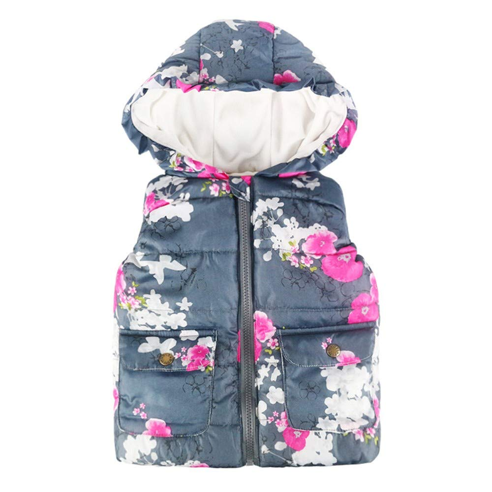Kids Coats Binmer Baby Girls Boys Sleeveless Floral Print Hooded Warm Waistcoat Tops Binmer_coat Kangdanielkda-0350