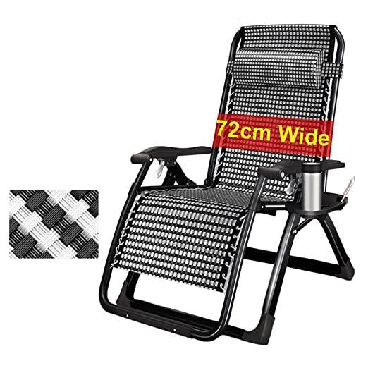 2er set silla tumbona plegable camping silla plegable sillón con bebidas-bandeja Black