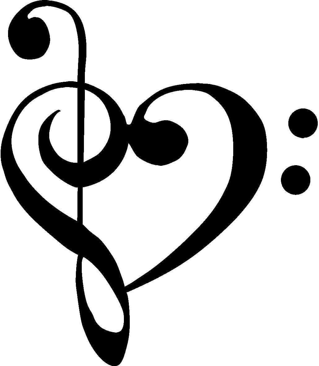 "TREBLE BASS CLEF HEART Love of music 3.5"" BLACK Vinyl Decal Window Sticker for Laptop, Ipad, Window, Wall, Car, Truck, Motorcycle"