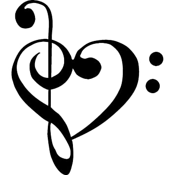 1 x treble bass clef heart love of music 3 5 black vinyl decal rh amazon com treble clef and bass clef heart tattoo bass and treble clef heart tattoo