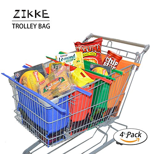 Shopping Reusable Grocery Trolley Bag - Zikke Collapsible Grocery Tote Bags for Women, Foldable Degradable Eco-friendly Shopping Bag Sized for USA and Canada Grocery Stores Cart, Colorful, Heavy Duty