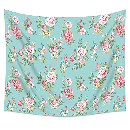 """Uphome Pink Rose Flower with Leaves Wall Tapestry Hanging – Light-weight Polyester Fabric Wall Decor (60""""H x 80""""W, Aqua)"""