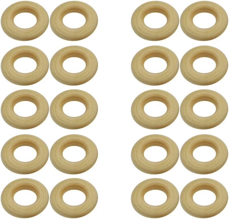 20 Piece Natural Unfinished Round Wooden Ring Loop Findings for Jewelry Making Kids Crafts 25mm