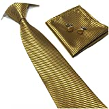 Men's Silk Slim Ties Bronze Gold Formal Neckties Valentine's Day for Ideal Gift