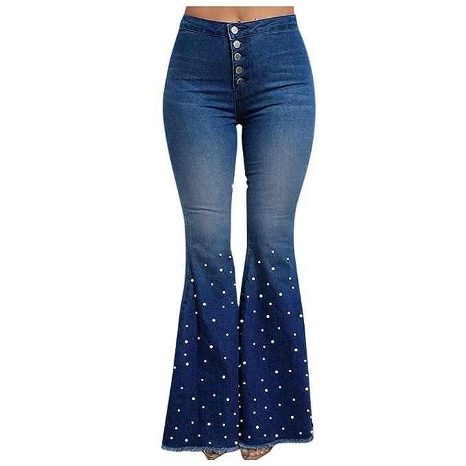 Amazon.com: Pantalones vaqueros de cintura alta con botones ...