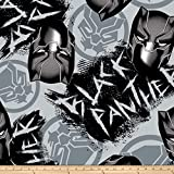 Springs Textiles Marvel Avengers Fleece Black Panther Graffiti Fabric, Gray, Fabric By The Yard