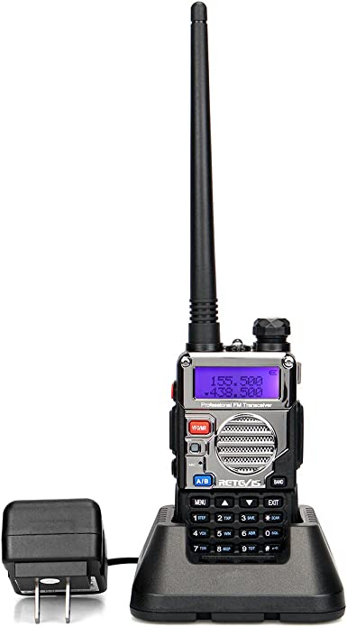 Retevis RT-5RV 2 Way Radio HT Transceiver Two Way Radio 128CH VHF UHF VOX Dual Band FM Long Range Walkie Talkies with Earpiece 1 Pack