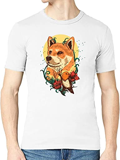 Iprints Doge and Flowers Colorful Shiba Inu Art Crew Neck Mens T-Shirt: Amazon.es: Ropa y accesorios
