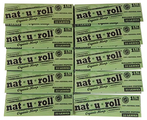 Nat-U-Roll Unbleached Natural Rolling Paper Organic Hemp 1 25 Size -10 Pack