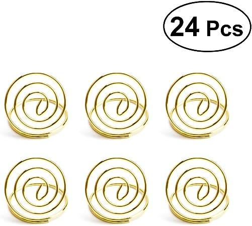Or BESTONZON 24pcs Porte Cartes Clip Photo Spirale Titulaire Porte M/émo Pince Porte Nom Mariage