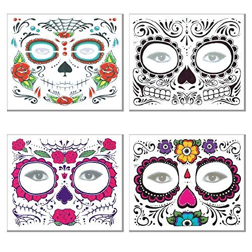 Knit 4 Packs Halloween Face Tattoo Stickers Shiny