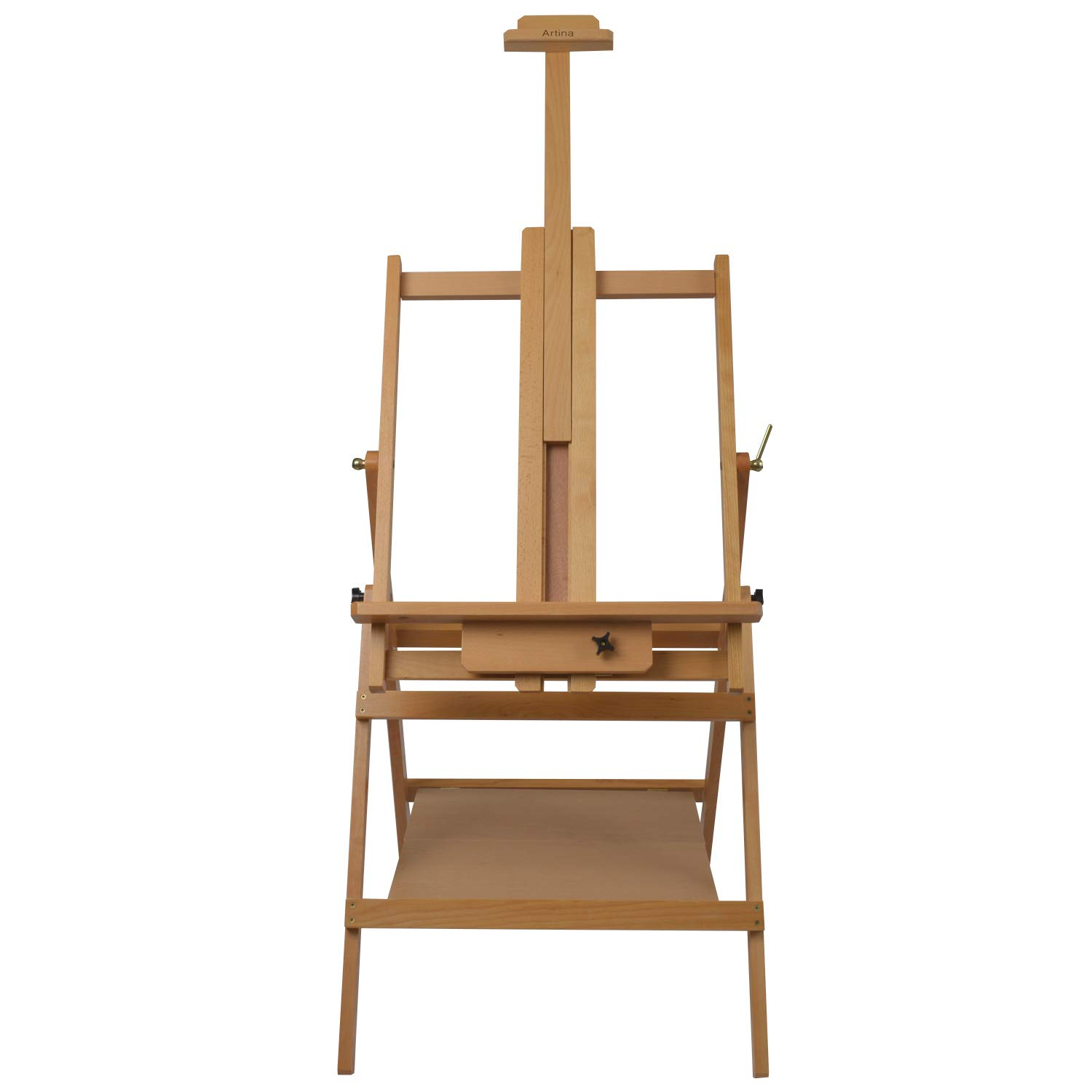 Artina Lyon Artists Easel Quad Leg H frame Studio/Watercolour Solid Beech-Wood Art Painting Easel Vertical to Flat 15134