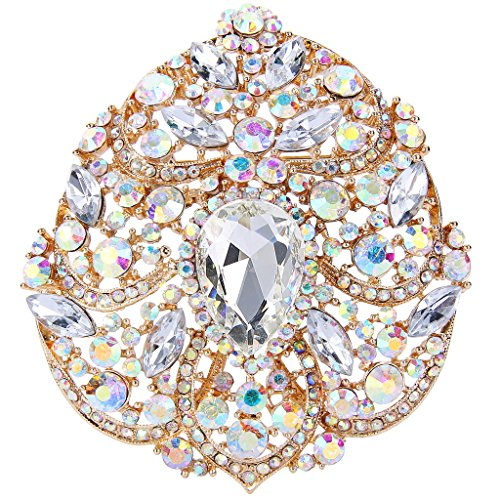 (EVER FAITH Women's Crystal Elegant Flower Teardrop Pendant Brooch Iridescent Clear AB Gold-Tone)