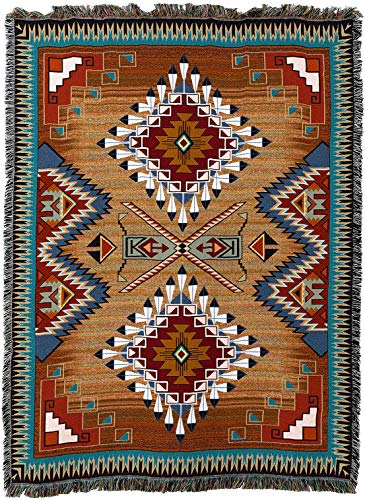 (Pure Country Weavers - Brazos Southwest Blanket | Woven Tapestry Camp Throw with Fringe Cotton USA 72x54)
