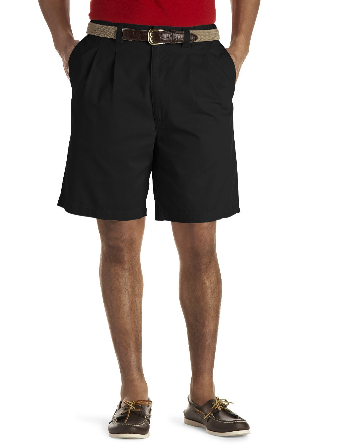 Harbor Bay by DXL Big and Tall Waist-Relaxer Pleated Twill Shorts (56 Reg, Black)