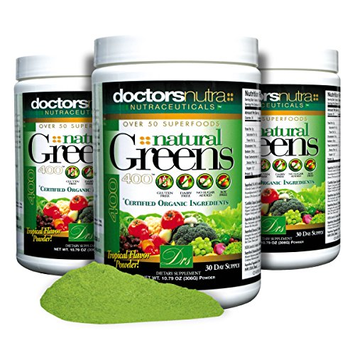 Natural Greens Juice Drink Super Food (306g) with Certified Organic Ingredients. 50+ First Quality Gluten Free Vegetarian Plant-Based Superfoods + Probiotics, Enzymes Amazing Tropical Flavor (3 PACK)