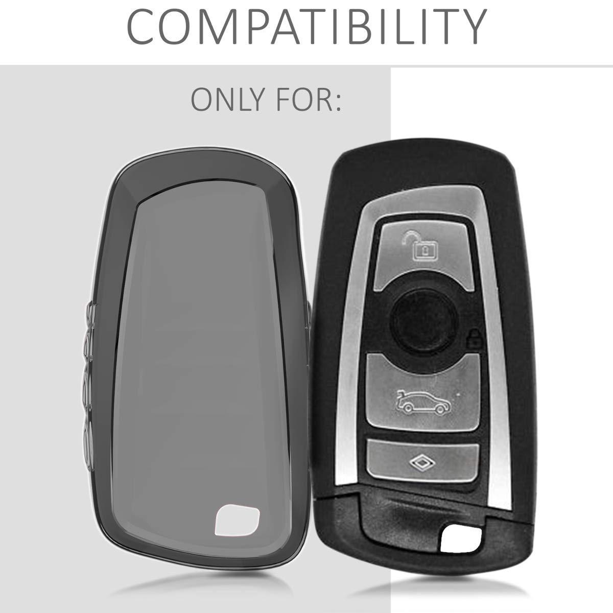 Trasparente - Cover Chiave Auto in Silicone TPU kwmobile Custodia Protettiva per Chiave Controllo remoto BMW con 3 Tasti Guscio Elastico Protezione per Chiave BMW Solo Keyless Go